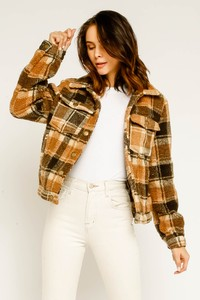Camel Plaid Faux Fur Jacket