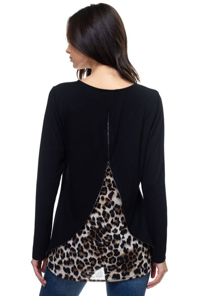 Zipper back animal contrast top
