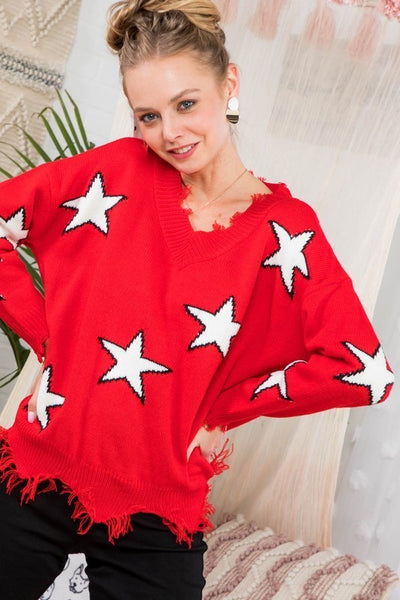 Frayed V Neck Star Sweater