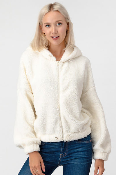Cropped Faux Fur Hooded Jacket