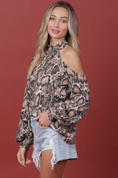 Snake Open Shoulder Top