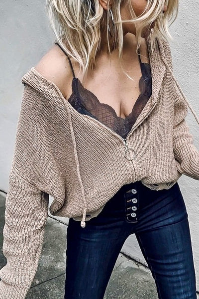 Zipper Sweater Hooded Jacket