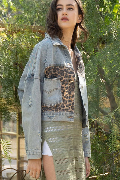 Leopard denim Jean Jacket