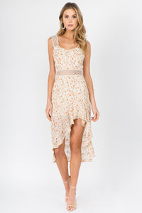 Floral hi Low Midi Dress