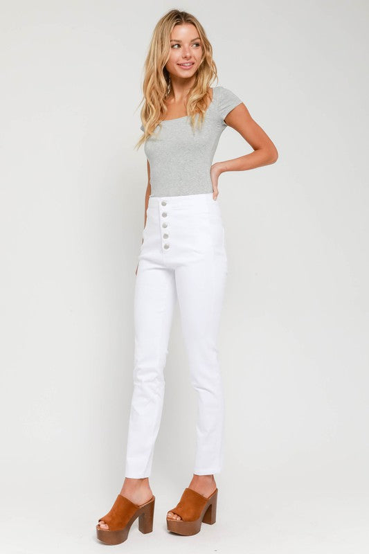 Button Up Hi Waist Pants
