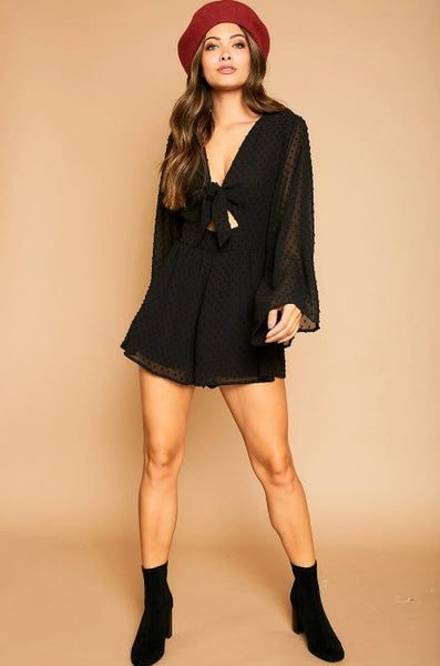 Bell Sleeve Dotted Tie Romper