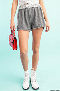 TERRY CLOTH STRIPED SHORTS
