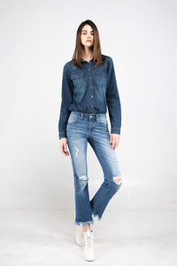 Mid Rise Crop Boot Jeans