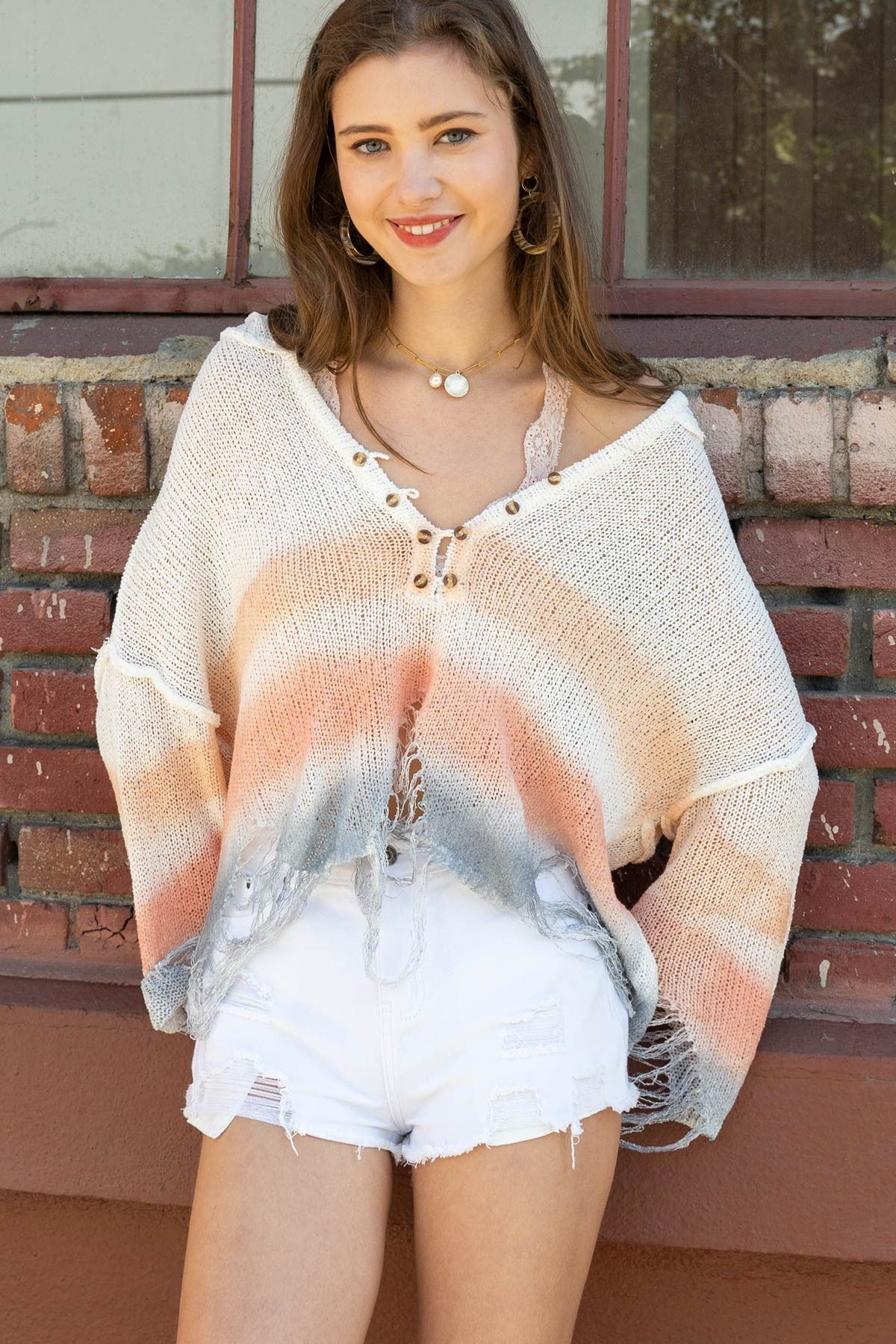 Dip Dye Distressed Sweater