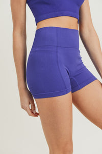 Ribbed and Smooth high waist Shorts