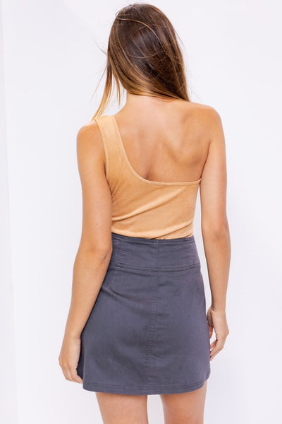 Solid Suede One shoulder Bodysuit