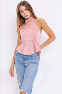 Satin  Neck Halter top