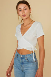 Pointelli Wrap Top