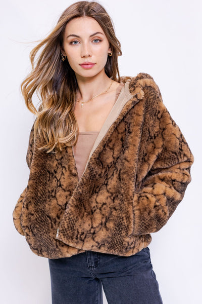 Snake Faux Fur Jacket