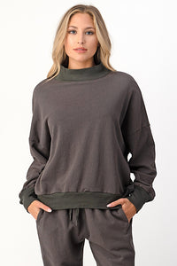 Charcoal Mock Sweat Shirt