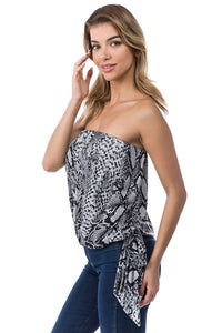 Sequine snake print strapless top
