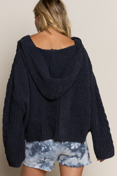 Cable Knit Hoodie Sweater