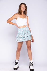 Smocked Ruffle Mini Skirt