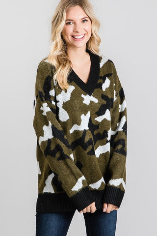 Distressed Hem Camo Sweater
