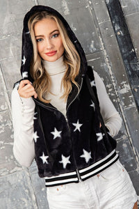 Star Print Hooded Vest