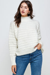 Mock Neck Textured Sweater