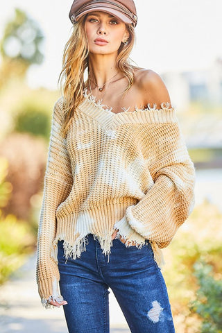 Frayed V Neck Oversized