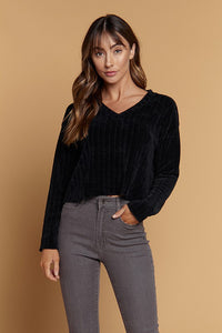 Chenille V Neck Sweater