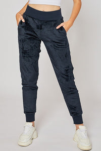 Plush wide elastic joggers