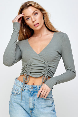 Front Drawstring Crop Top