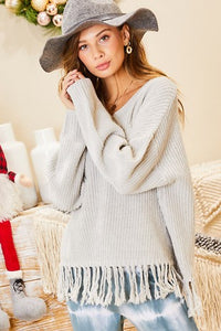 V Neck Tassel Bottom Sweater