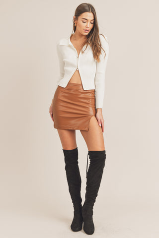 Faux Leather Slit Mini Skirt