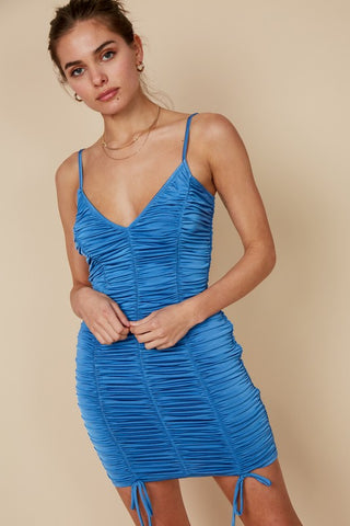 Ruched V Neck Bodycon