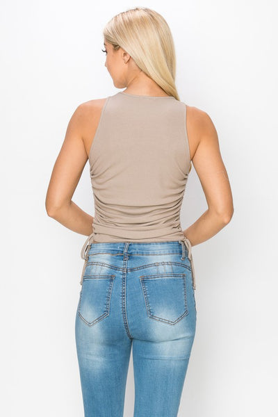 Side Ruched High Neck Tank