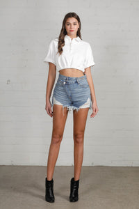 Crossover Denim Mom shorts