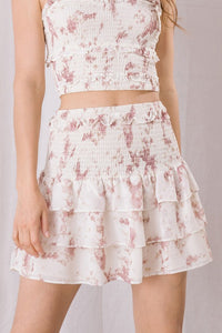 Splatter Print Smocked Skirt