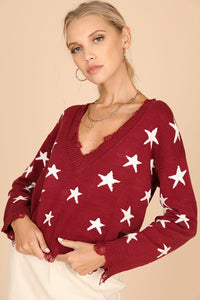 Distressed Star V Neck Top