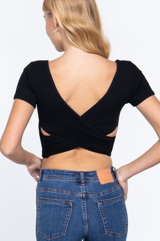 Cross back ribbed seamless top