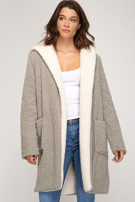 Shearling fleece coat with pocket