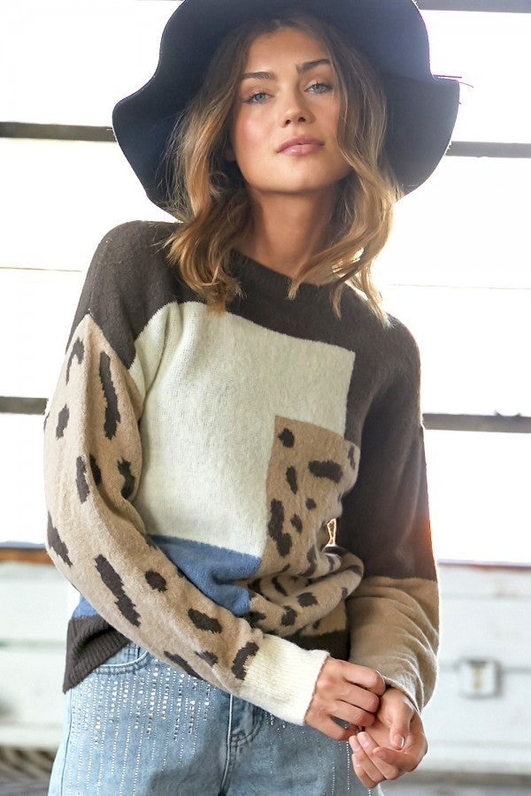 Color Block Leopard Sweater