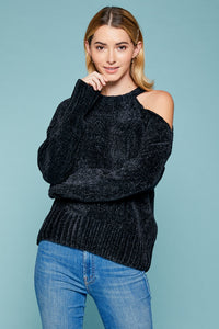 Chenille Cut out shldr pullover