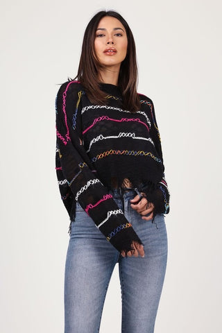 Multicolor Distressed sweater