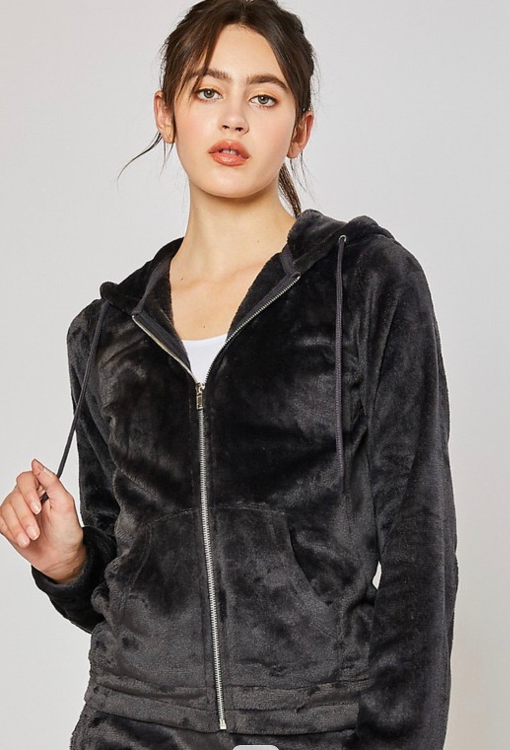 Plush zip up jacket