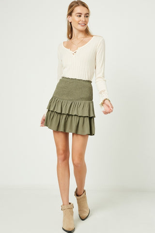 Layered Olive Skirt