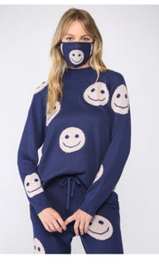 Happy Face Knit Top with matching  mask