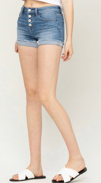 3D Whiskers Raw Hem Shorts