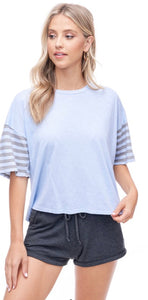 Classic striped sleeve tee shirt