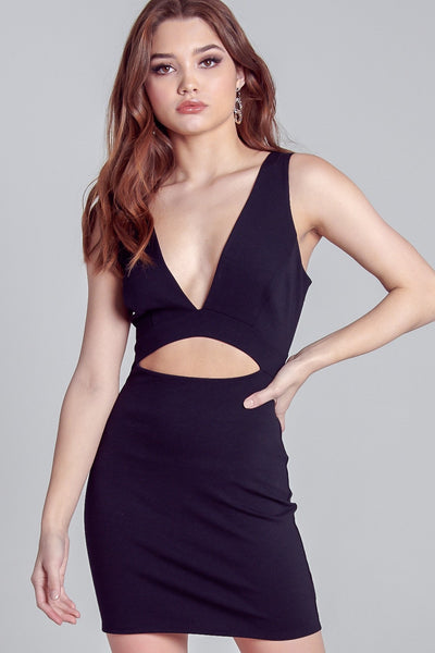 Deep V Cut out Bodycon Dress