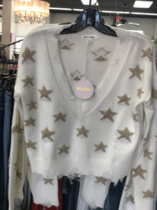 Sparkly Star Distressed Sweater