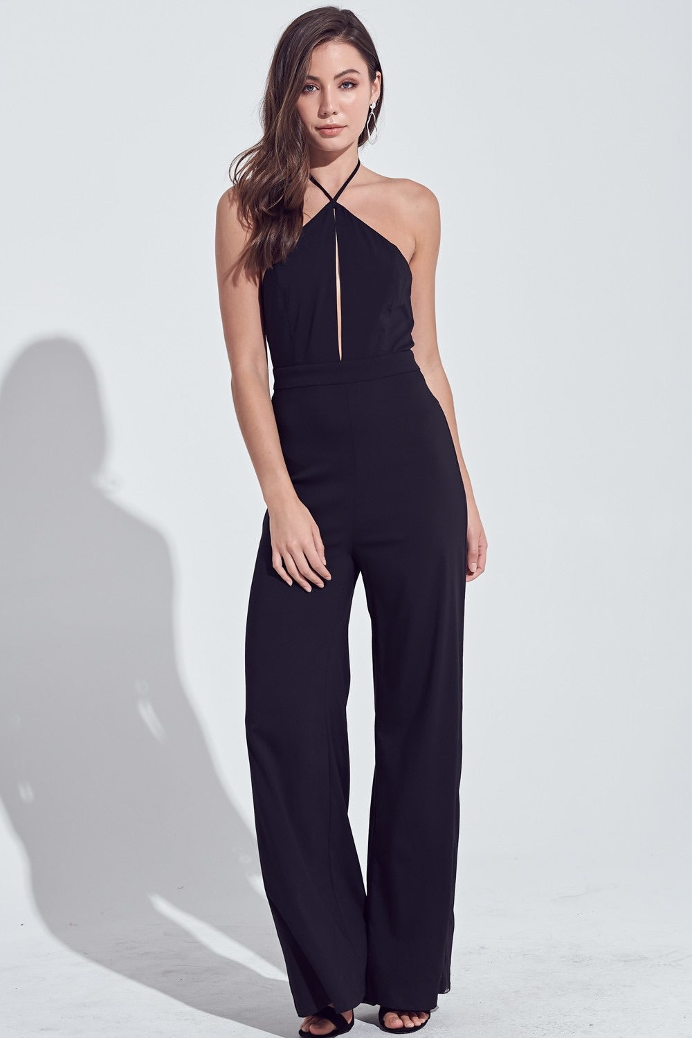 HALTER NECK CUT OUT JUMPSUIT
