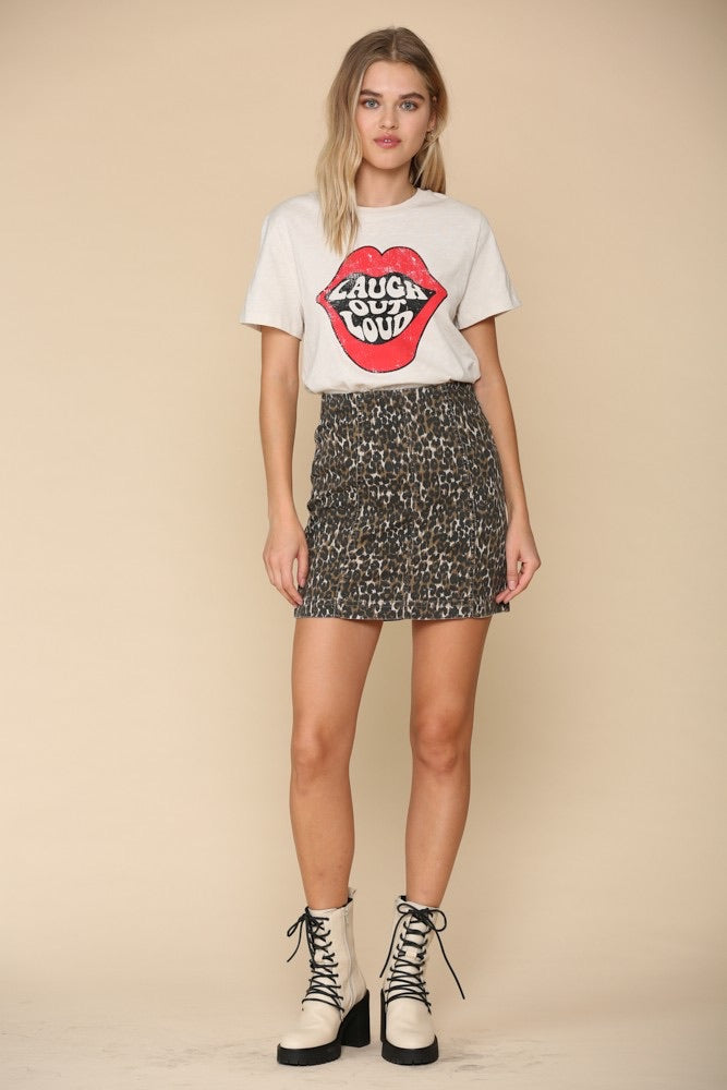 Leopard High Waist Denim Skirt